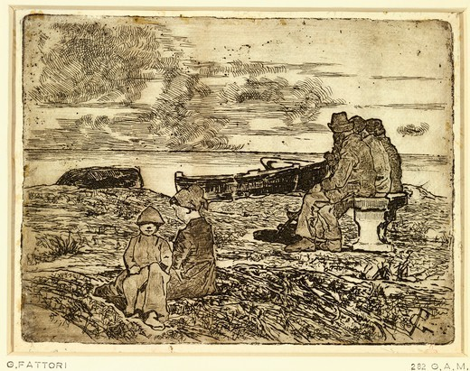 Stock Photo: 1788-43785 Sailors resting, 1893, by Giovanni Fattori (1825-1908), etching, 14x19 cm.