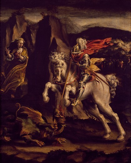 St George and the dragon, 1565-1570, by Lelio Orsi (1508 or 1511-1587), oil on canvas, 60x48.5 cm. : Stock Photo