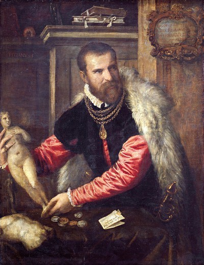 Stock Photo: 1788-43796 Portrait of Jacopo Strada, 1567-1568, by Titian (ca 1490-1576), oil on canvas, 125x95 cm.