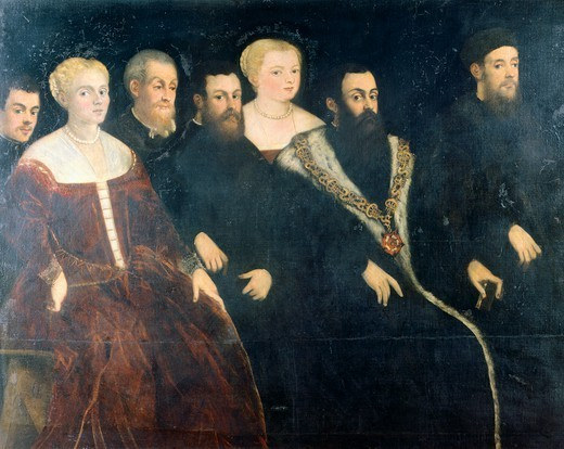 Stock Photo: 1788-43805 The Soranzo family, by Jacopo Robusti known as Tintoretto (1518-1594). Detail.