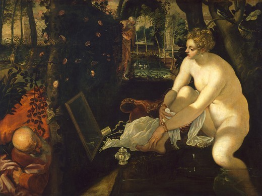 Susanna and the Elders, 1557, by Jacopo Robusti known as Tintoretto (1518-1594), oil on canvas, 146x193 cm. : Stock Photo