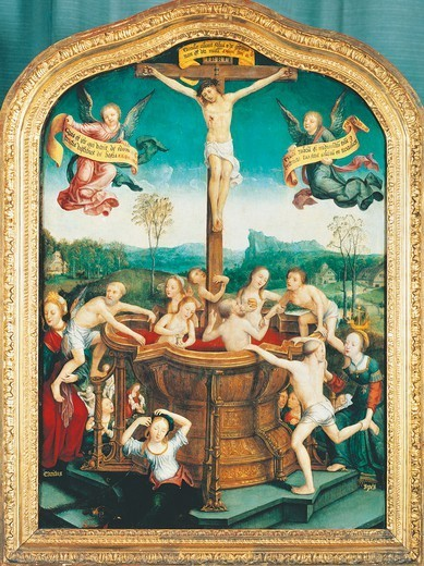 Stock Photo: 1788-43824 Triptych of the Mystical Bath, center panel, by Jean Bellegambe (ca 1480 died between 1534-1536), oil on panel, 81x58 cm.