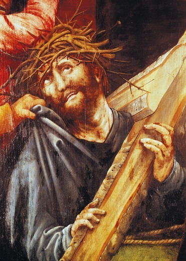 Stock Photo: 1788-43849 Christ exhausted, ca 1523-1525, detail from the Ascent to Calvary from the Tauberbischofsheim Altarpiece, by Mathias Grunewald (1475-1528).