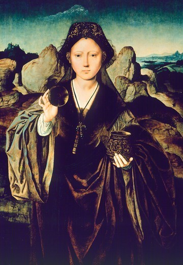 Stock Photo: 1788-43851 Magdalene, ca 1525, by the Master of the Mansi Magdalene (active 1510-1525), oak panel, 82x58 cm.