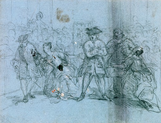 Stock Photo: 1788-43853 A scene from the beggars opera, by William Hogarth (1697-1764), pencil and ink drawing.