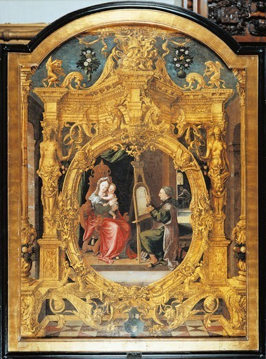 Stock Photo: 1788-43861 St Luke painting the Virgin, 1545, by Lancelot Blondeel (1488-1581), oil on canvas, 144.5x103 cm.