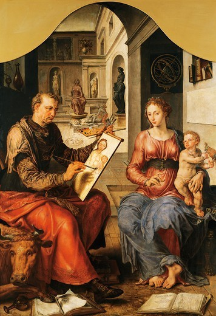 St Luke painting the Virgin, 1550-1553, by Maerten van Heemskerck (1498-1574), oil on canvas, 206x144 cm. : Stock Photo
