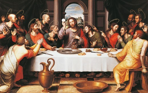 Stock Photo: 1788-43909 The last Supper, 1560-1570, by Juan de Juanes (ca 1510-1579), panel, 116x191 cm.
