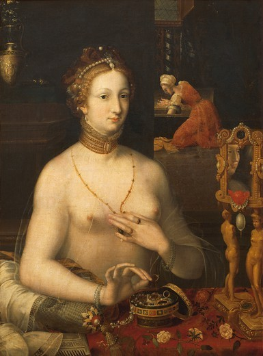 Stock Photo: 1788-43916 Lady at her toilette, ca 1560, by an unknown artist from the Fontainebleau school, oil on canvas, 105x76 cm.