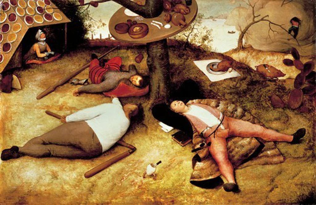 Stock Photo: 1788-43927 Land of Cockaigne, 1567, by Pieter Brueghel the Elder (1525-1569), oil on panel.