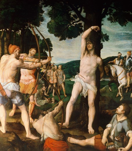 Stock Photo: 1788-43928 Martyrdom of St Sebastian, by Michiel Coxie I (1499-1592).