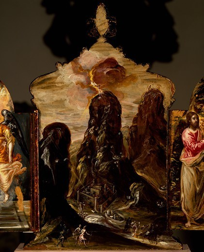 Mount Sinai, portable triptych altar, by El Greco (1541-1614). : Stock Photo