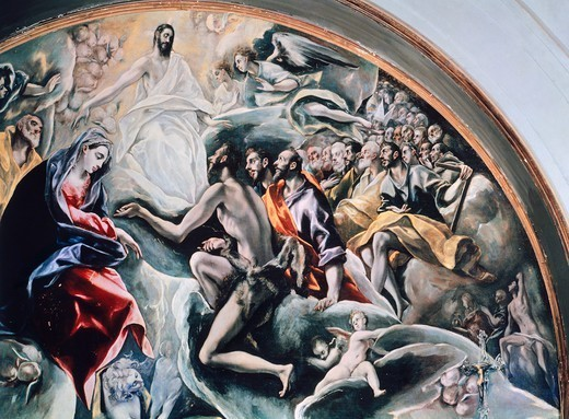 Stock Photo: 1788-43945 Angels and saints, detail from the Burial of Count Orgaz, 1586-1588, by El Greco (1541-1614), oil on canvas, 430x360 cm.