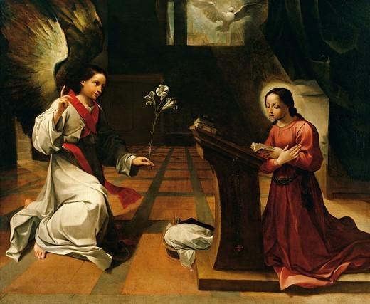 Stock Photo: 1788-43954 Annunciation, ca 1585, Ludovico Carracci (1555-1619), oil on canvas, 178x218 cm.