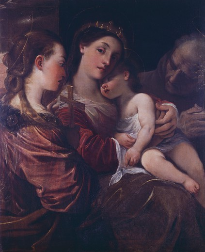 St Catherine of Alexandria with the Child Jesus, St Helena and San Bernardino of Siena, by Ludovico Carracci (1555-1619). : Stock Photo