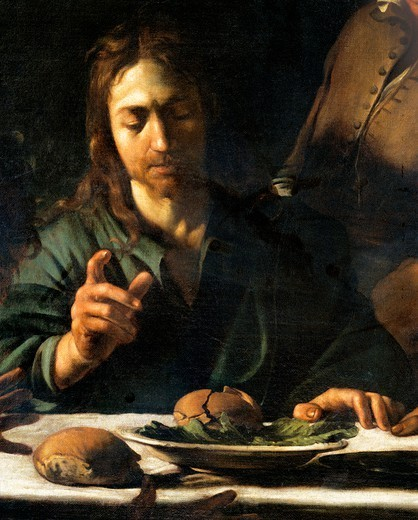 Stock Photo: 1788-43964 Christ, detail from The Supper at Emmaus, 1606, by Michelangelo Merisi, known as Caravaggio Caravaggio (1571-1610), oil on canvas, 141x175 cm.