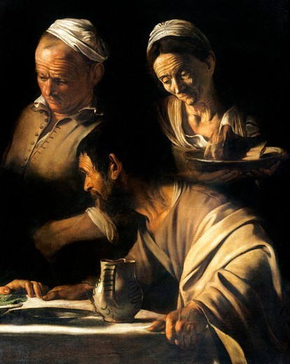The disciple, detail from The Supper at Emmaus, 1606, by Michelangelo Merisi, known as Caravaggio Caravaggio (1571-1610), oil on canvas, 141x175 cm. : Stock Photo