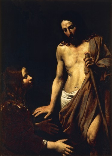 Stock Photo: 1788-43977 Noli Me Tangere (Don't touch me), ca 1620, by Valentin de Boulogne (1591-1631), oil on canvas, 134x98 cm.