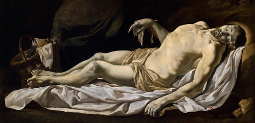 Stock Photo: 1788-43989 Christ in the sheet, by Charles Le Brun (1619-1690), oil on canvas, 76x162 cm.