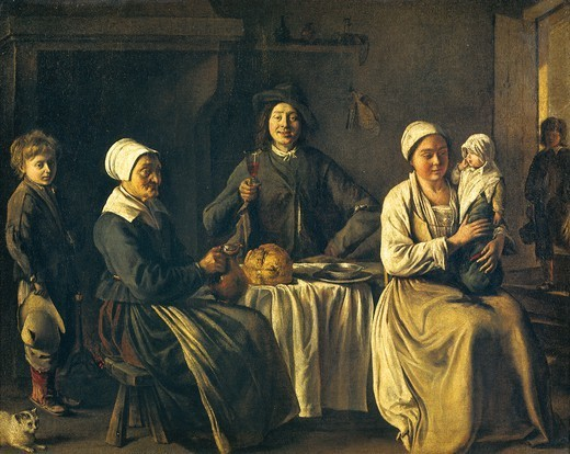Stock Photo: 1788-44000 Return from the baptism (The happy family), 1642, by Louis Le Nain (1593-1648), 61x78 cm.
