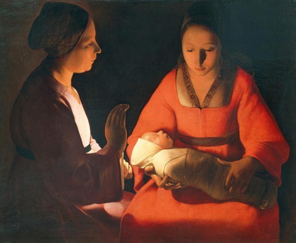 Stock Photo: 1788-44004 The newborn, 1645-1648, by Georges de La Tour (1593-1652), oil on canvas, 76x91 cm.