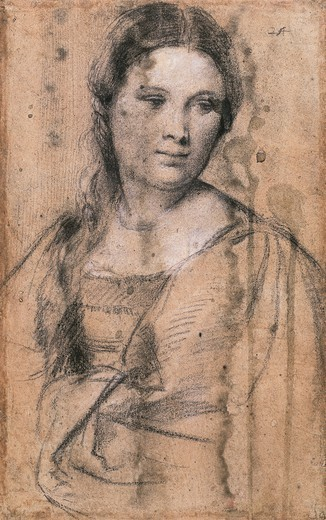 Portrait of a young girl, by Titian (ca 1490-1576), drawing. : Stock Photo