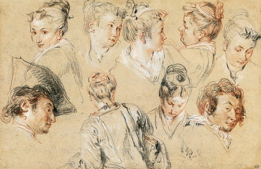 Stock Photo: 1788-44036 Study of heads, by Jean-Antoine Watteau (1684-1721), drawing.