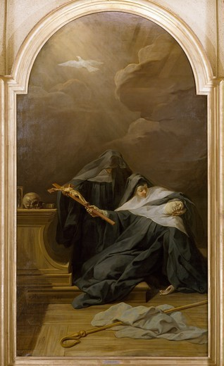 Stock Photo: 1788-44076 Death of St Scholastica, 1730, by Jean Restout II (1692-1768), oil on canvas, 338x190 cm.