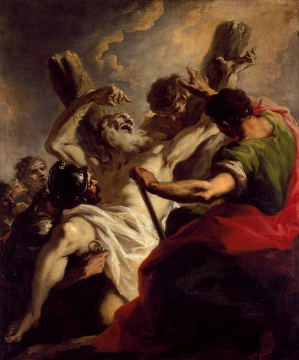 Stock Photo: 1788-44077 Martyrdom of St Andrew, by Giovanni Antonio Pellegrini (1675-1741). Church of San Stae, Venice, Italy.