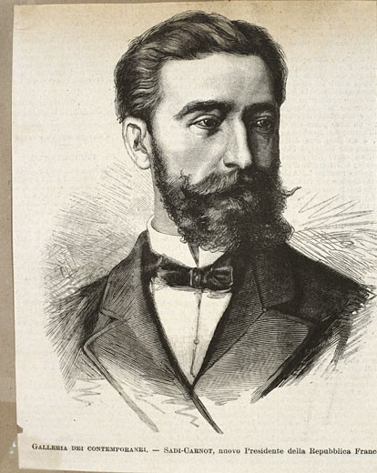 France - 19th century - Marie-François-Sadi Carnot (1837-1894). The fourth president of the Third French Republic from 1887 until his assassination in 1894. Engraving : Stock Photo