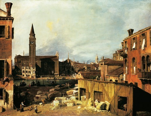 Stock Photo: 1788-44112 The court of the stonemason in Campo (square) San Vidal and the church of Santa Maria della Carita, about 1725, by Giovanni Antonio Canal, known as Canaletto (1697-1768). Oil on canvas, 123.8x162.9 cm.