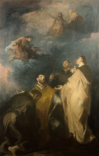 Trinity and the saints, by Giuseppe Bazzani (1690-1769). : Stock Photo