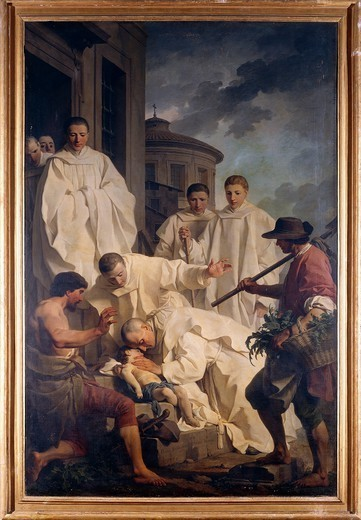 Stock Photo: 1788-44151 The miracle of St Benedict, 1744, by Pierre Subleyras (1699-1749), oil on canvas. Santa Francesca Romana Church, Rome, Italy.