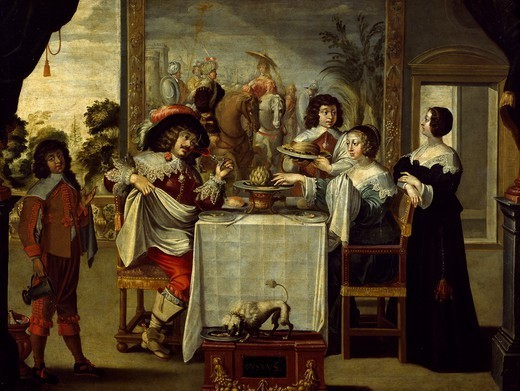 Stock Photo: 1788-44171 The five senses, taste, by an anonymous painter, copy of an engraving by Abraham Bosse (1602-1676), oil on canvas.