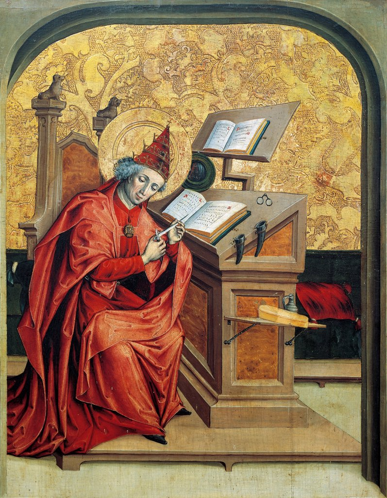 Stock Photo: 1788-44180 St Gregory, panel from Altarpiece of the Doctors of the Church, end of the 15th century, by an artist of the Swiss school.
