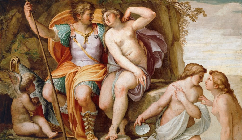 Stock Photo: 1788-44183 Venus to Mars, detail from the Sala dell'Amore (of love), ca 1601, by Agostino Carracci (1557-1602), fresco on the ceiling. Ducal Palace, Parma.