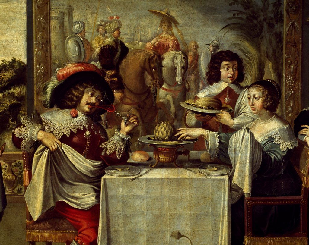 Stock Photo: 1788-44185 The five senses, taste, by an anonymous painter, copy of an engraving by Abraham Bosse (1602-1676), oil on canvas. Detail.