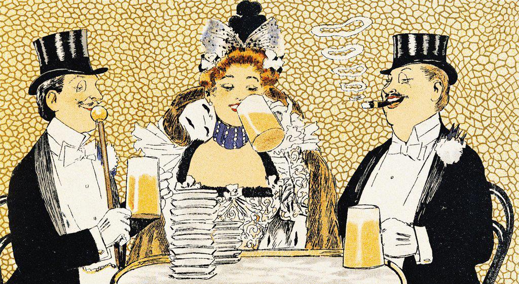 Illustration of the menu from La Taverne Tountel restaurant, Boulvard des Capucines, Paris, 1899. Detail. : Stock Photo