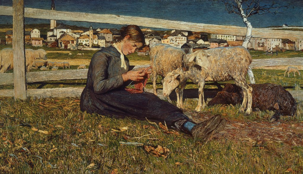 Stock Photo: 1788-44191 A girl making socks, 1888, by Giovanni Segantini (1858-1899), oil on canvas, 54x88 cm.