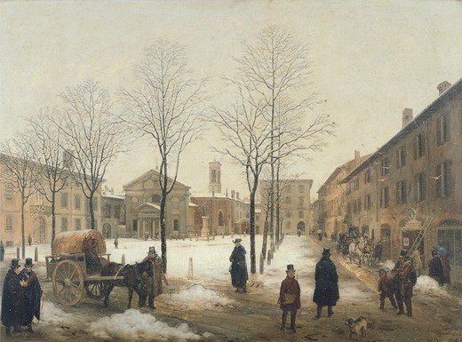 Stock Photo: 1788-44213 Milan, Piazza Borromeo under snow, by Angelo Deceptions (1807-1880).