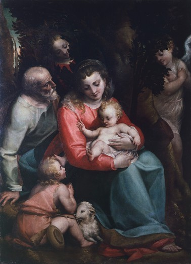 Madonna with Child and Saints, by Luca Cambiaso (1527-1585). : Stock Photo