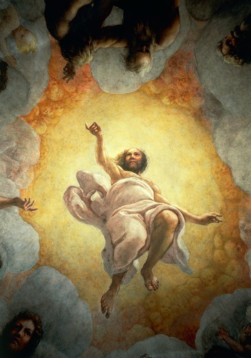 Vision of St John the Evangelist on Patmos, the Ascension of Christ among the Apostles, or Christ in Glory, 1520-1523 by Antonio Allegri, known as Correggio (1489-ca 1534), fresco, 966x888 cm diameter at the base. Detail. Church of St John the Evangelist, dome, Parma. : Stock Photo