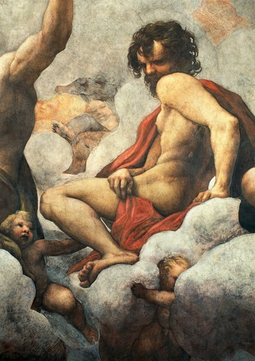 Stock Photo: 1788-44225 Vision of St John the Evangelist on Patmos, the Ascension of Christ among the Apostles, or Christ in Glory, 1520-1523 by Antonio Allegri, known as Correggio (1489-ca 1534), fresco, 966x888 cm diameter at the base. Detail. Church of St John the Evangelist, dome, Parma.