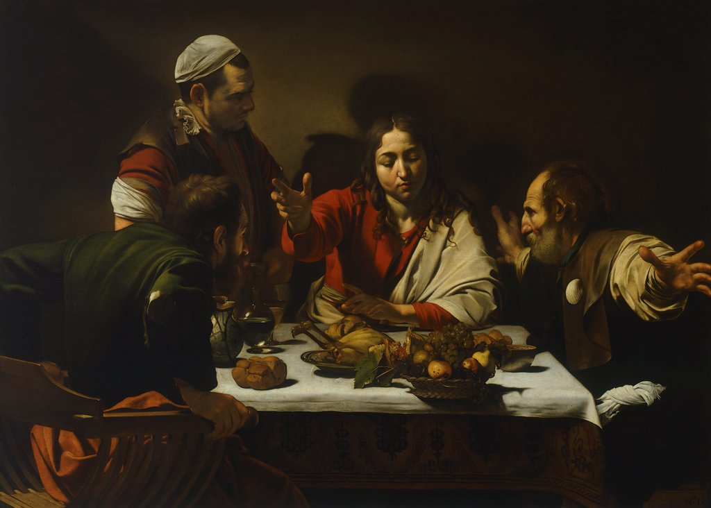 Stock Photo: 1788-44264 Supper at Emmaus, 1602, by  Michelangelo Merisi da Caravaggio (1571-1610), oil on canvas, 141x196.2 cm.