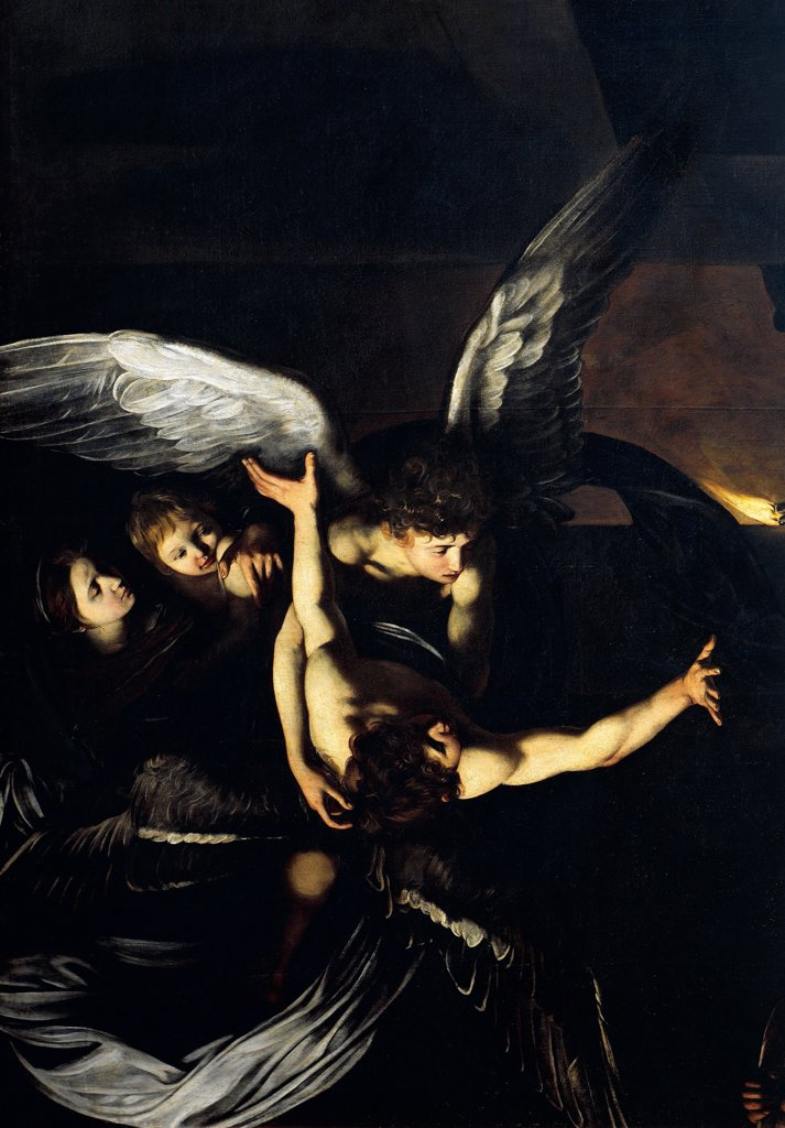 Figures of angels, detail from Our Lady of Mercy or The Seven Acts of Mercy, 1606-1607, by Michelangelo Merisi da Caravaggio (1571-1610), oil on canvas, 390x260 cm. : Stock Photo