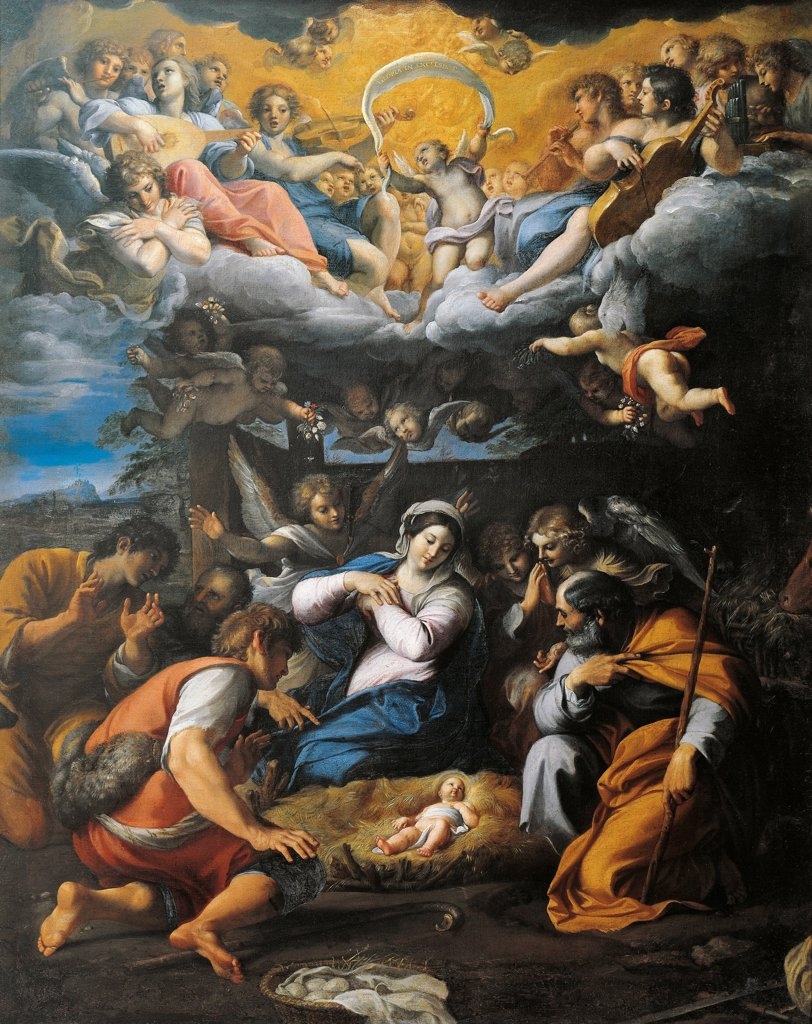 Stock Photo: 1788-44276 Adoration of the Shepherds, by Annibale Carracci (1560-1609), oil on canvas, 103x85 cm.
