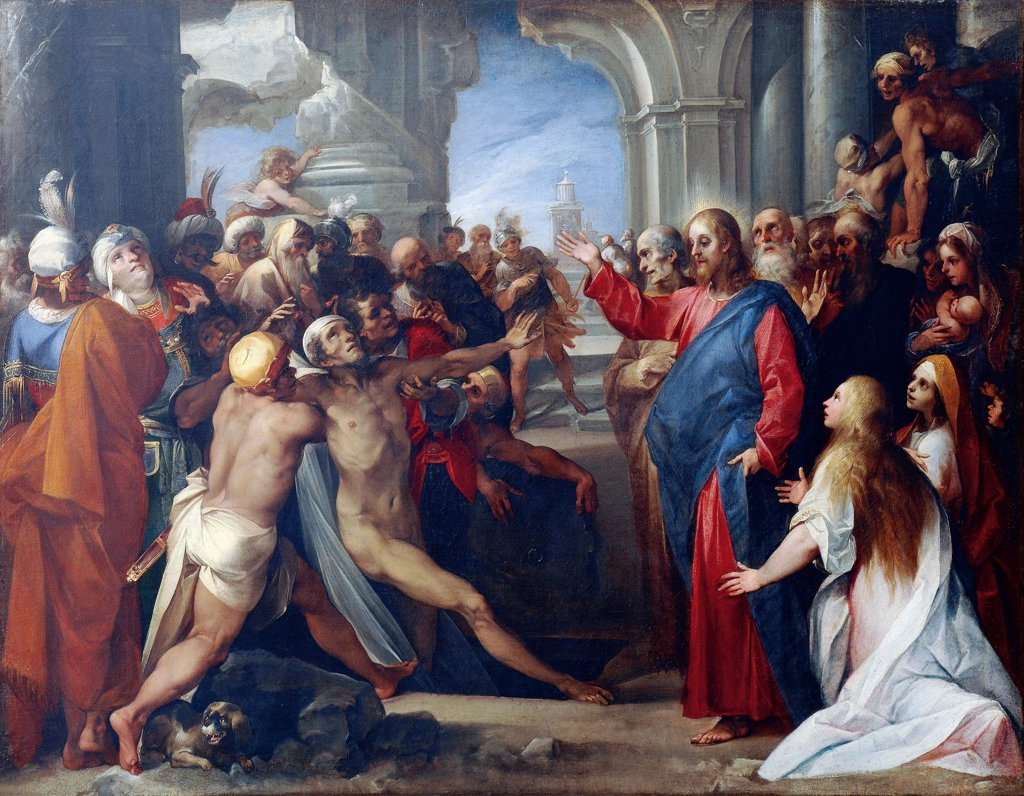 Stock Photo: 1788-44278 The raising of Lazarus, 1592-1593, by Giuseppe Cesari (1568-1640), oil on canvas, 76x98 cm.