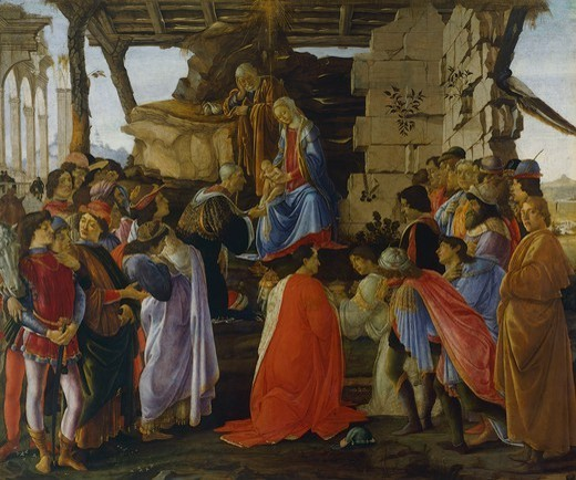 Stock Photo: 1788-44308 Adoration of the Magi, ca 1475, Sandro Botticelli (1445-1510), tempera on wood, 111x134 cm.