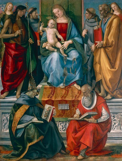 Madonna and Child with Saints John the Baptist, Francis of Assisi, Anthony of Padua, Joseph Bonaventure and Jerome, by Luca Signorelli (ca 1445-1523). : Stock Photo