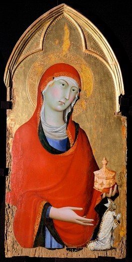 The Magdalene, 1323-1324, detail of the Altarpiece of St Dominic, by Simone Martini (1283-1344), tempera and gold on wood panel, 113x257 cm. : Stock Photo